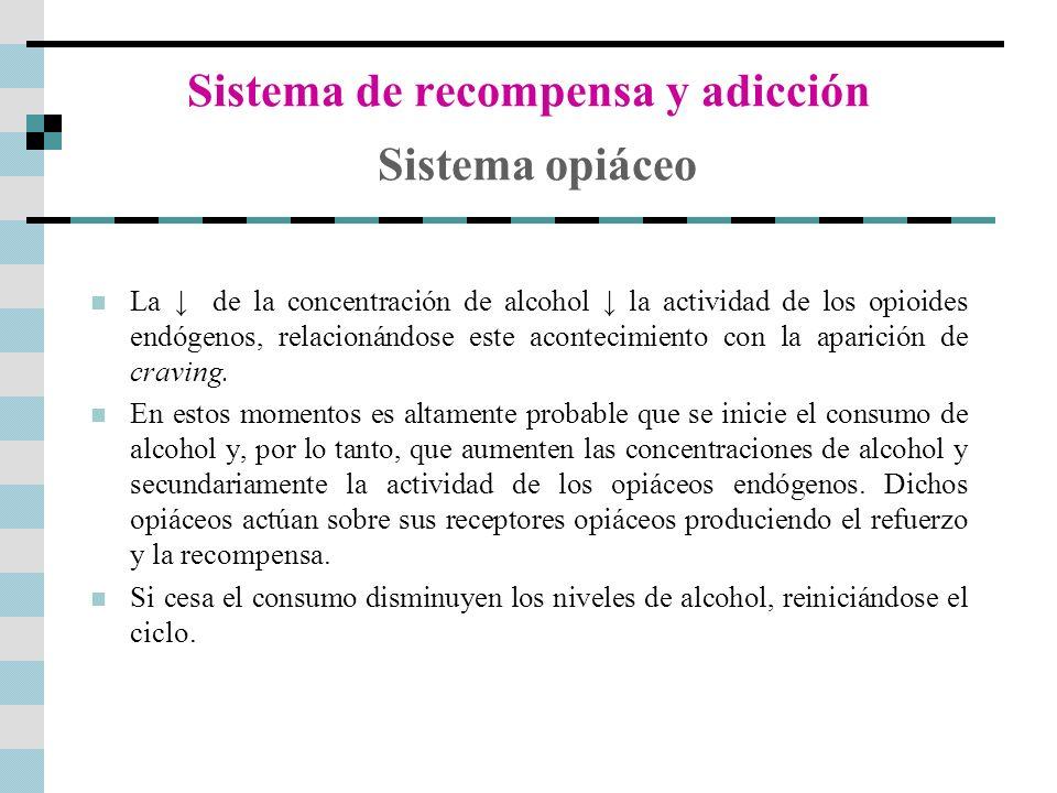 Sistema de recompensa y adicción Sistema opiáceo La de la concentración de alcohol la actividad de los opioides endógenos, relacionándose este acontec