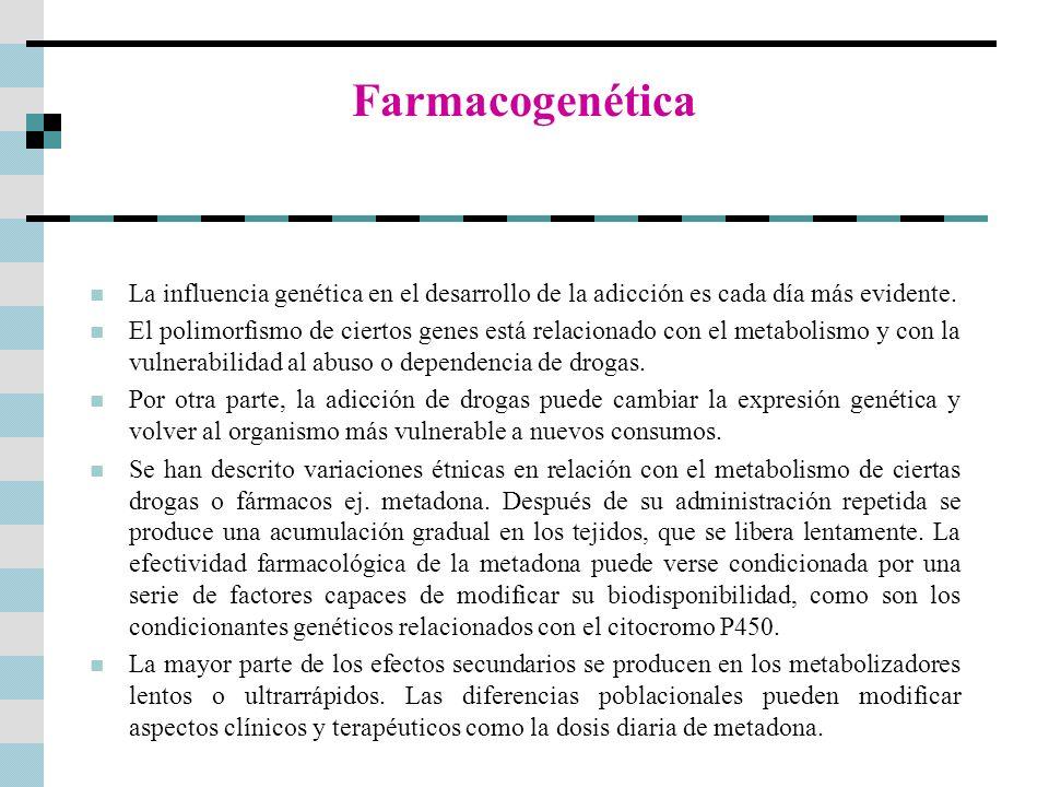 Farmacogenética La influencia genética en el desarrollo de la adicción es cada día más evidente. El polimorfismo de ciertos genes está relacionado con