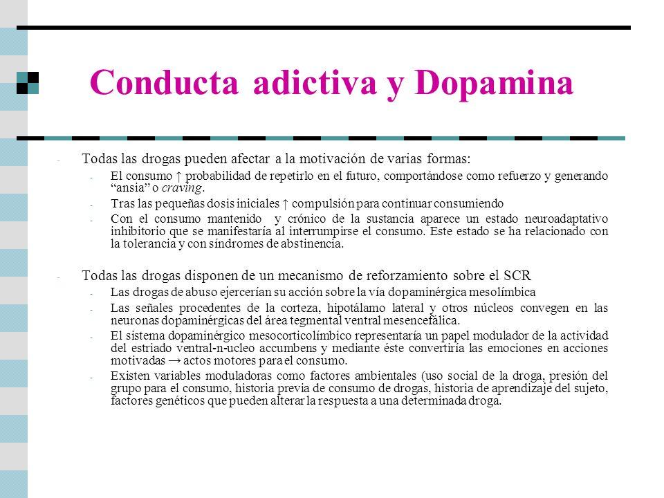Conducta adictiva y Dopamina - Todas las drogas pueden afectar a la motivación de varias formas: - El consumo probabilidad de repetirlo en el futuro,