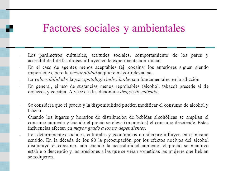 Factores sociales y ambientales - Los parámetros culturales, actitudes sociales, comportamiento de los pares y accesibilidad de las drogas influyen en