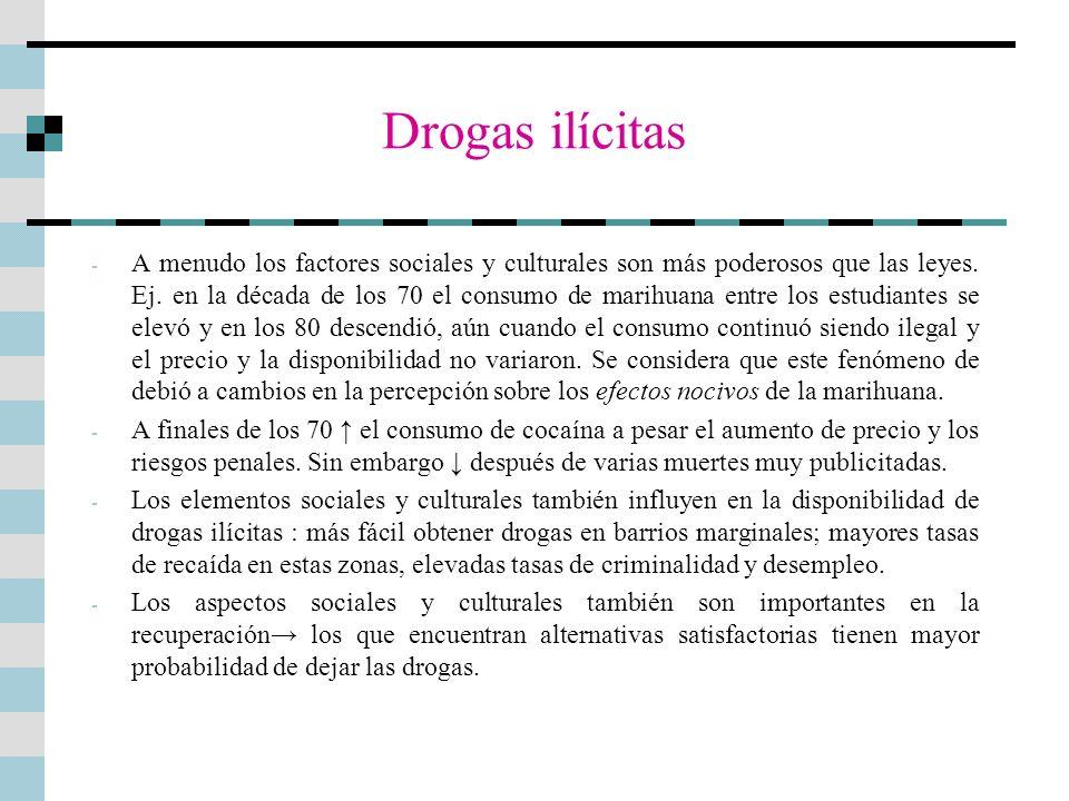 Drogas ilícitas - A menudo los factores sociales y culturales son más poderosos que las leyes. Ej. en la década de los 70 el consumo de marihuana entr