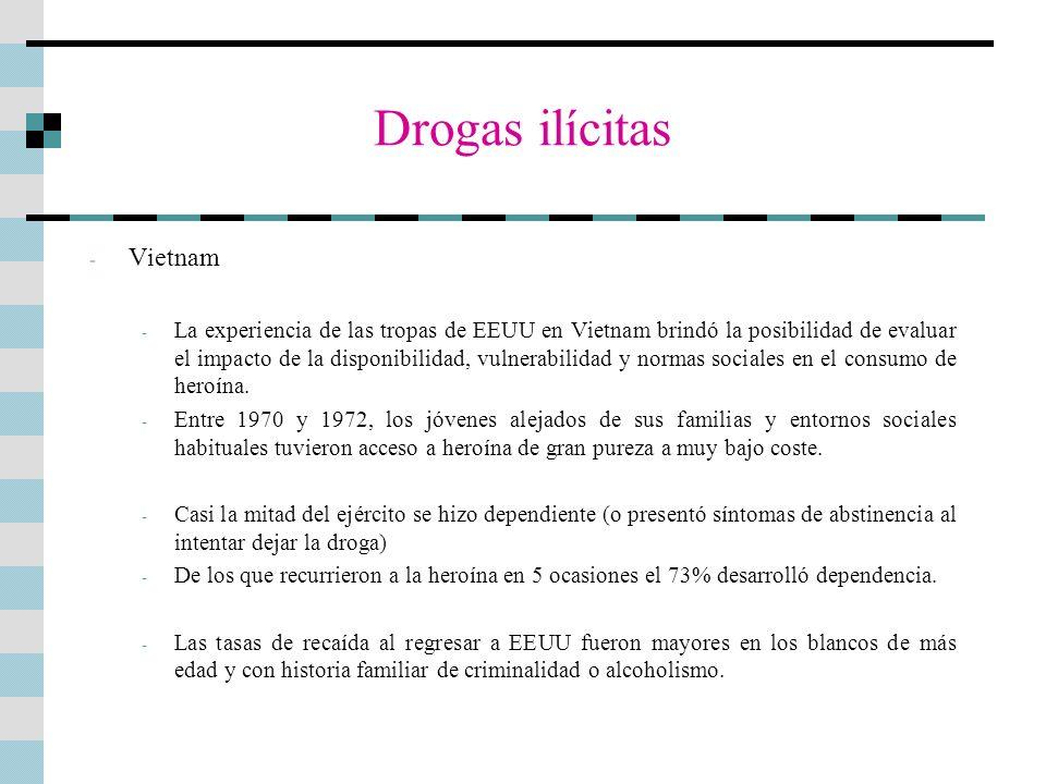 Drogas ilícitas - Vietnam - La experiencia de las tropas de EEUU en Vietnam brindó la posibilidad de evaluar el impacto de la disponibilidad, vulnerab
