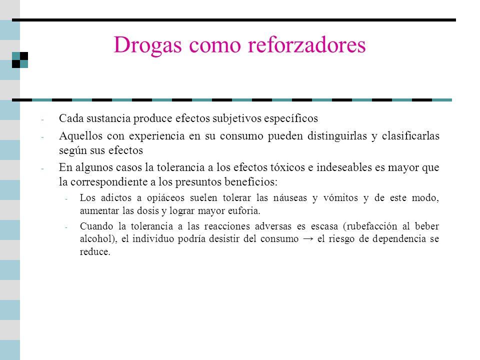 Drogas como reforzadores - Cada sustancia produce efectos subjetivos específicos - Aquellos con experiencia en su consumo pueden distinguirlas y clasi