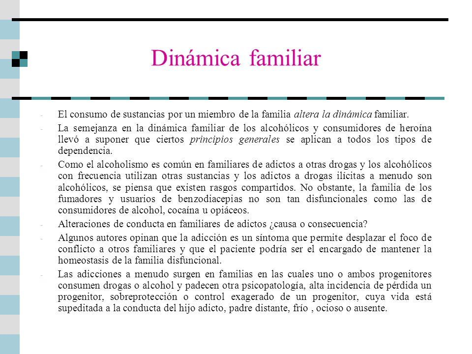 Dinámica familiar - El consumo de sustancias por un miembro de la familia altera la dinámica familiar. - La semejanza en la dinámica familiar de los a