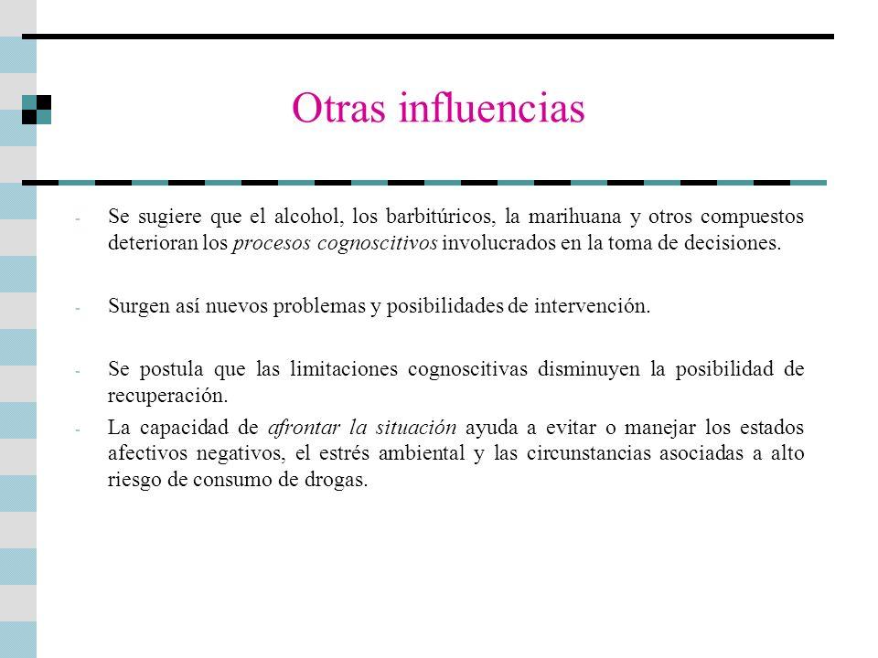 Otras influencias - Se sugiere que el alcohol, los barbitúricos, la marihuana y otros compuestos deterioran los procesos cognoscitivos involucrados en