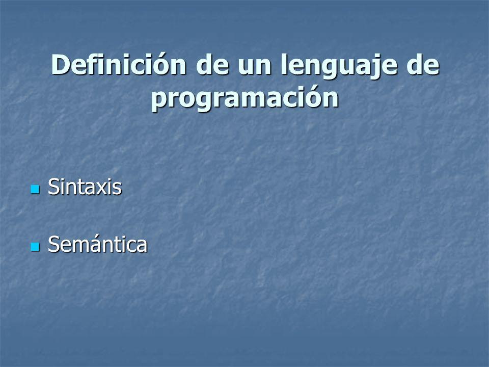 Definición de un lenguaje de programación Sintaxis Sintaxis Semántica Semántica
