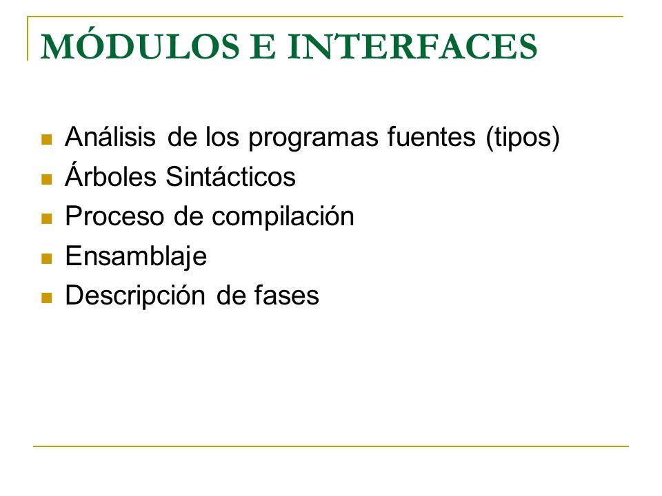 MÓDULOS E INTERFACES Análisis de los programas fuentes (tipos) Árboles Sintácticos Proceso de compilación Ensamblaje Descripción de fases