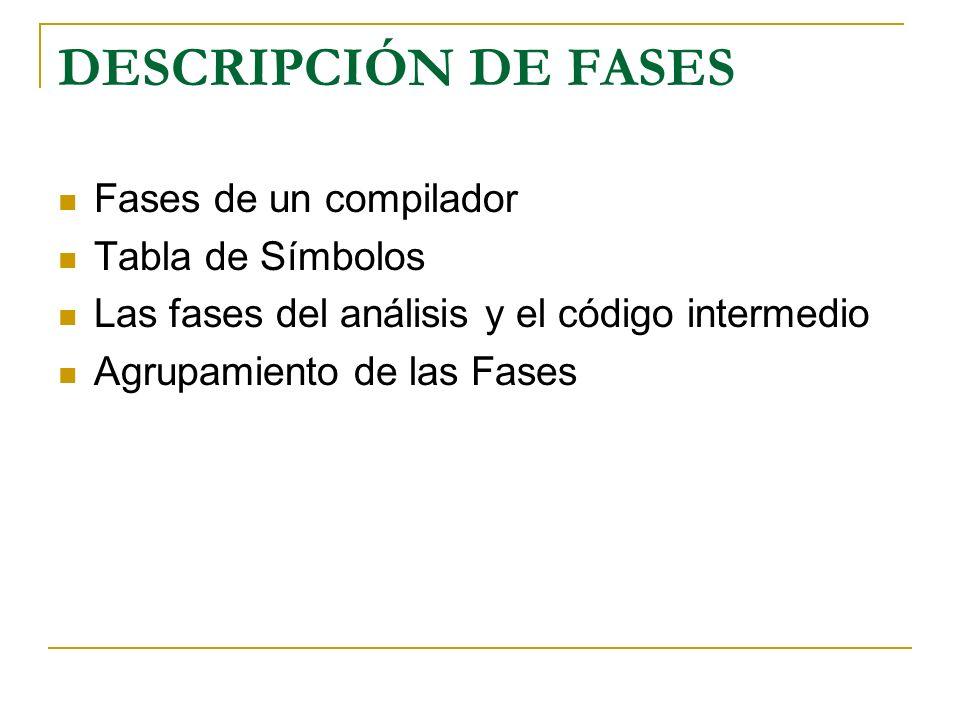 DESCRIPCIÓN DE FASES Fases de un compilador Tabla de Símbolos Las fases del análisis y el código intermedio Agrupamiento de las Fases