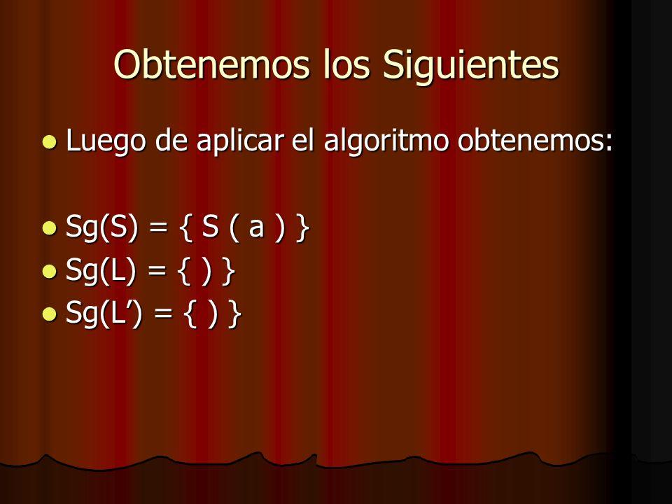 Obtenemos los Siguientes Luego de aplicar el algoritmo obtenemos: Luego de aplicar el algoritmo obtenemos: Sg(S) = { S ( a ) } Sg(S) = { S ( a ) } Sg(L) = { ) } Sg(L) = { ) }