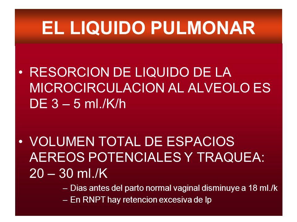 EL LIQUIDO PULMONAR RESORCION DE LIQUIDO DE LA MICROCIRCULACION AL ALVEOLO ES DE 3 – 5 ml./K/h VOLUMEN TOTAL DE ESPACIOS AEREOS POTENCIALES Y TRAQUEA: