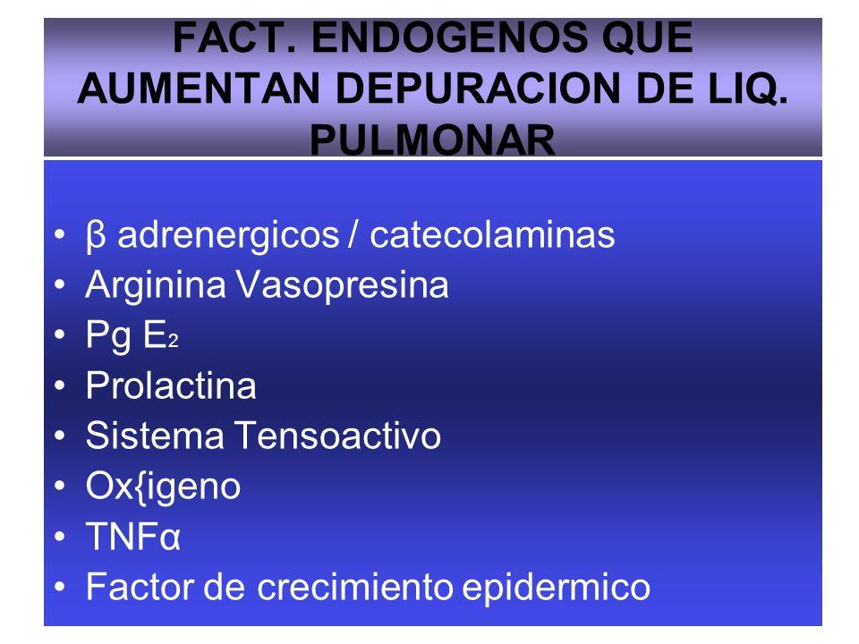 FACT. ENDOGENOS QUE AUMENTAN DEPURACION DE LIQ. PULMONAR β adrenergicos / catecolaminas Arginina Vasopresina Pg E 2 Prolactina Sistema Tensoactivo Ox{