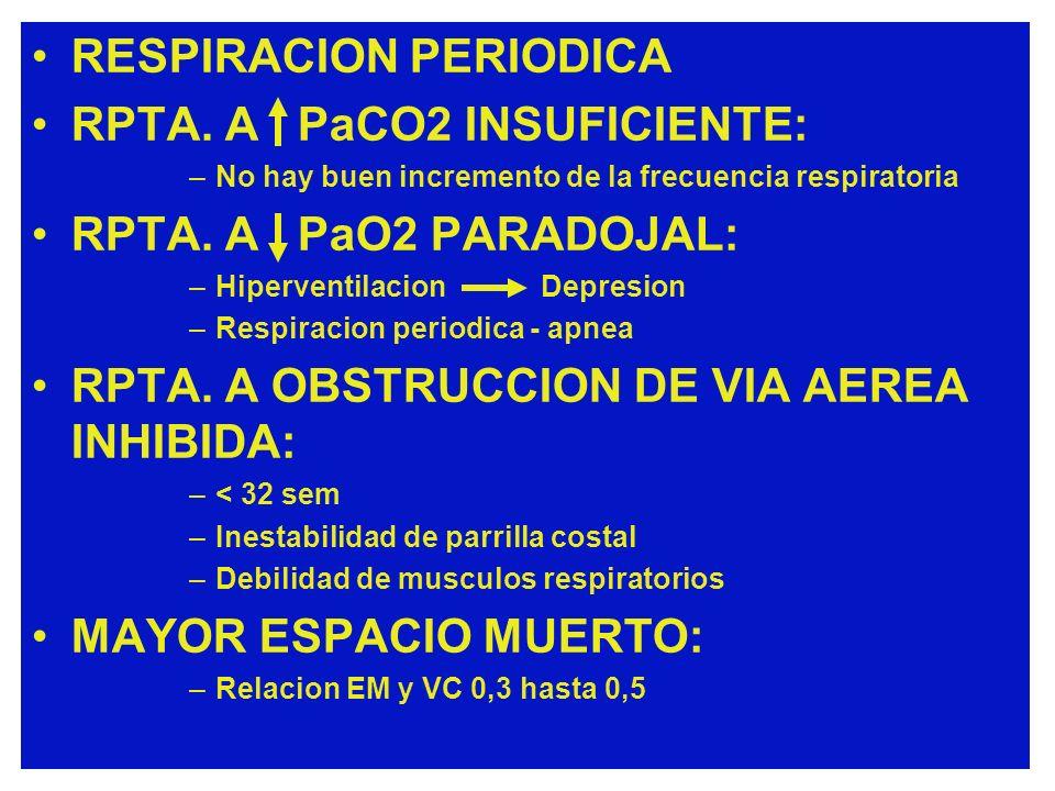 RESPIRACION PERIODICA RPTA. A PaCO2 INSUFICIENTE: –No hay buen incremento de la frecuencia respiratoria RPTA. A PaO2 PARADOJAL: –Hiperventilacion Depr