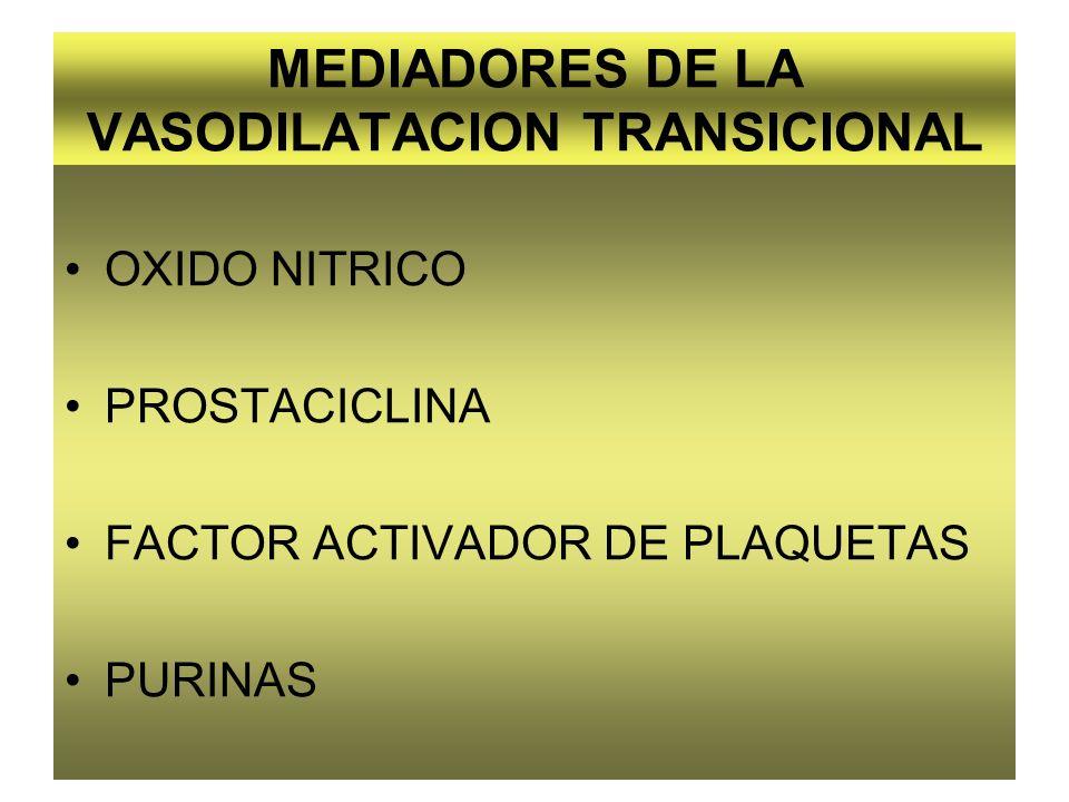 MEDIADORES DE LA VASODILATACION TRANSICIONAL OXIDO NITRICO PROSTACICLINA FACTOR ACTIVADOR DE PLAQUETAS PURINAS