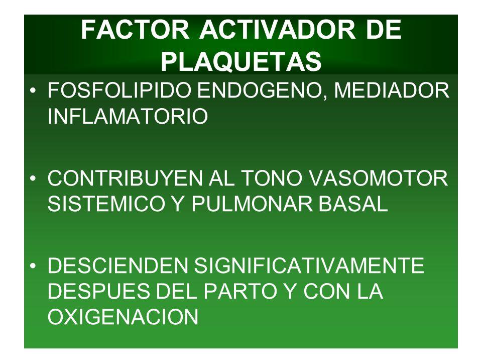 FACTOR ACTIVADOR DE PLAQUETAS FOSFOLIPIDO ENDOGENO, MEDIADOR INFLAMATORIO CONTRIBUYEN AL TONO VASOMOTOR SISTEMICO Y PULMONAR BASAL DESCIENDEN SIGNIFIC