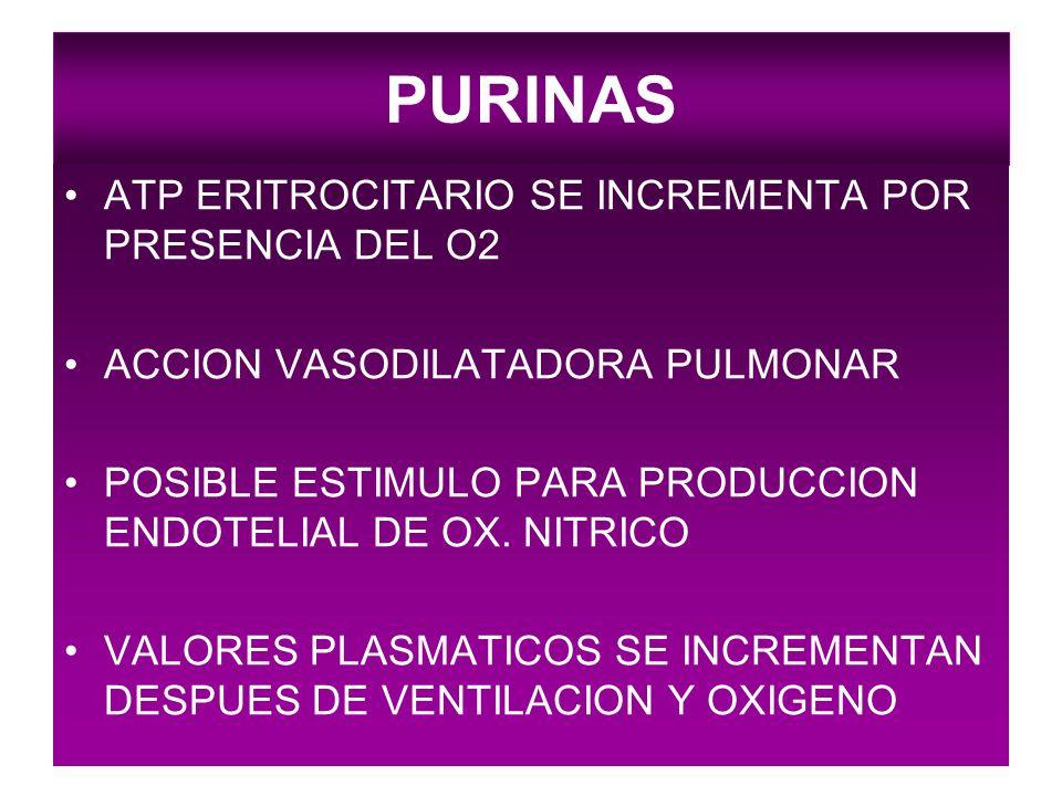 PURINAS ATP ERITROCITARIO SE INCREMENTA POR PRESENCIA DEL O2 ACCION VASODILATADORA PULMONAR POSIBLE ESTIMULO PARA PRODUCCION ENDOTELIAL DE OX. NITRICO