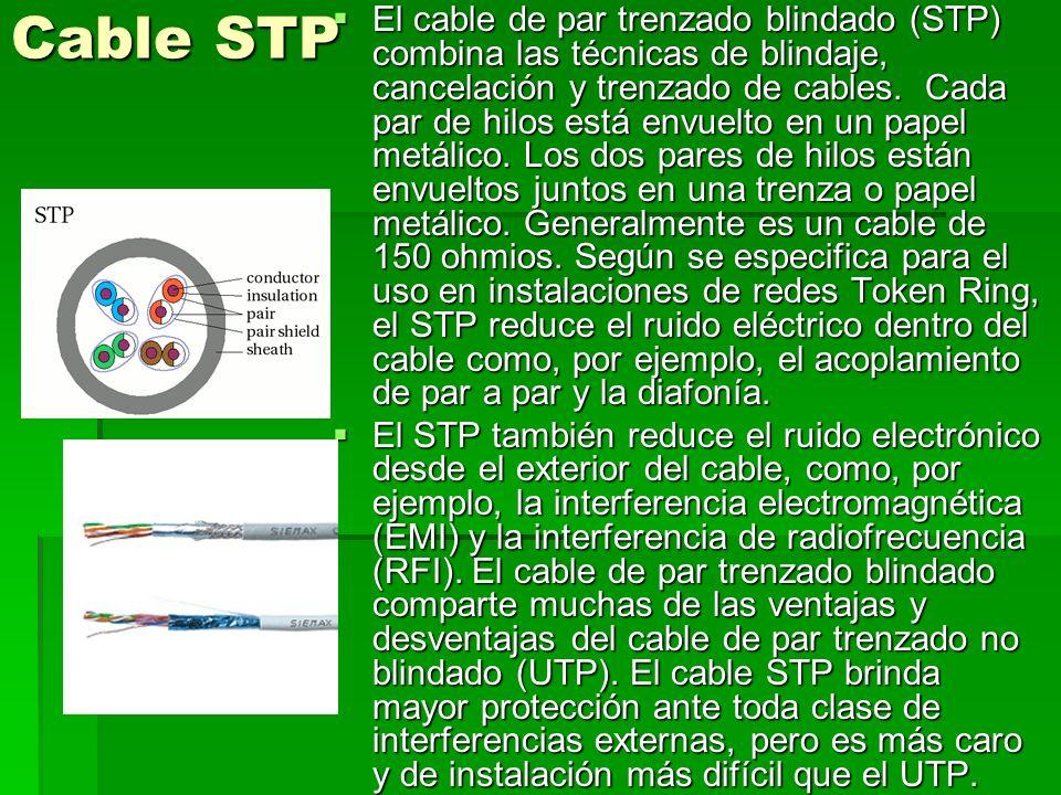 Cable FTP En este tipo de cable como en el UTP, sus pares no están apantallados, pero sí dispone de una apantalla global para mejorar su nivel de protección ante interferencias externas.