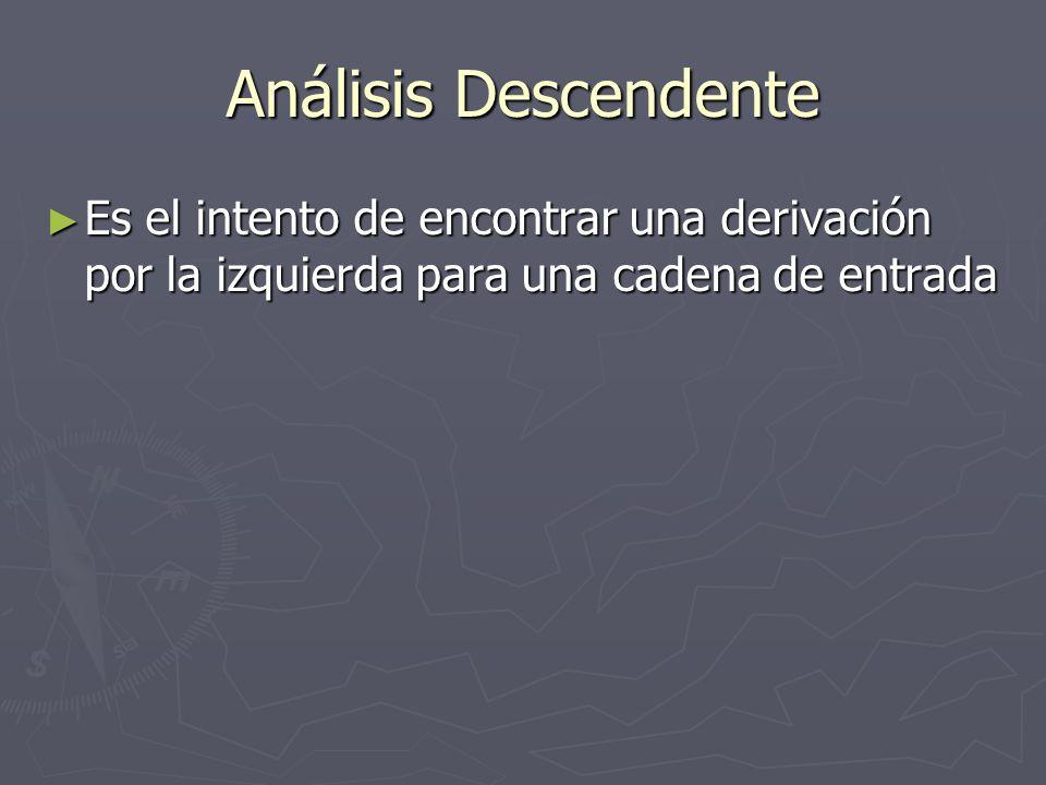 Análisis Descendente Es el intento de encontrar una derivación por la izquierda para una cadena de entrada Es el intento de encontrar una derivación por la izquierda para una cadena de entrada