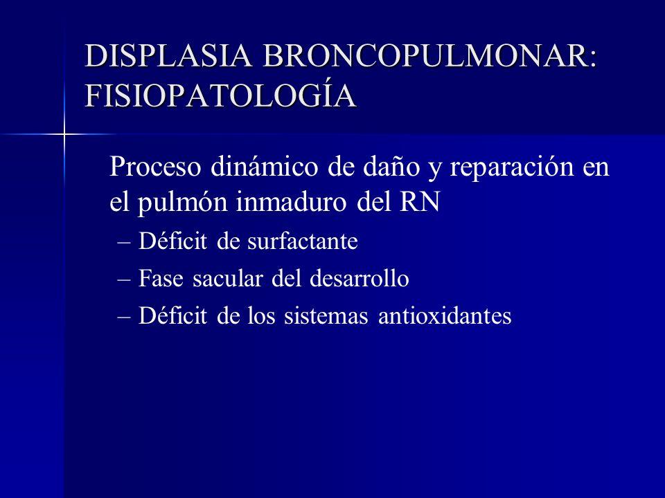DISPLASIA BRONCOPULMONAR: FISIOPATOLOGÍA Proceso dinámico de daño y reparación en el pulmón inmaduro del RN – –Déficit de surfactante – –Fase sacular