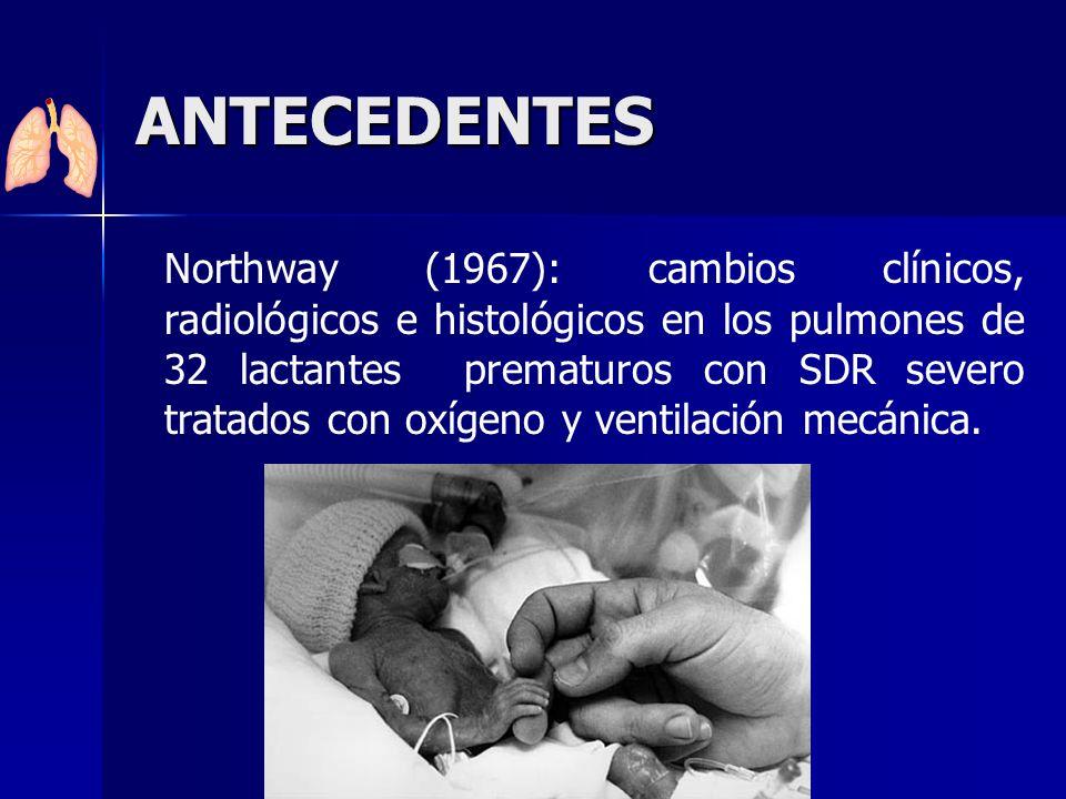 ANTECEDENTES Northway (1967): cambios clínicos, radiológicos e histológicos en los pulmones de 32 lactantes prematuros con SDR severo tratados con oxí