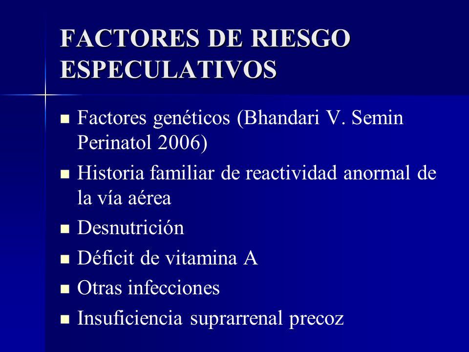 FACTORES DE RIESGO ESPECULATIVOS Factores genéticos (Bhandari V. Semin Perinatol 2006) Historia familiar de reactividad anormal de la vía aérea Desnut