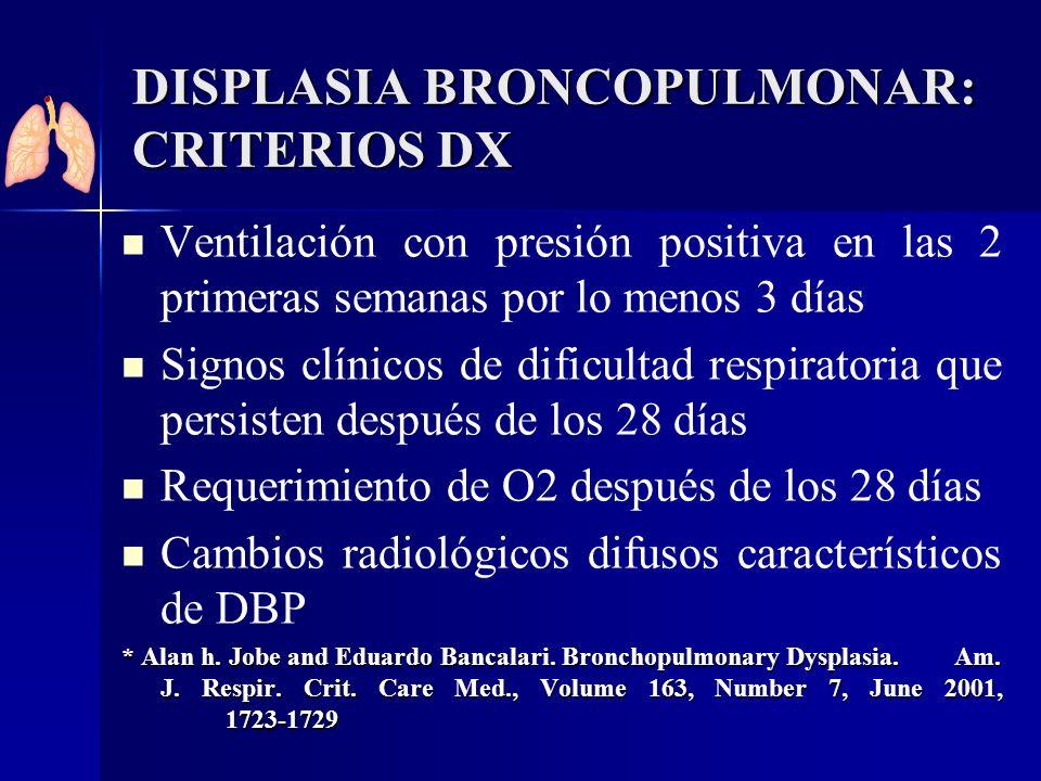 DISPLASIA BRONCOPULMONAR: CRITERIOS DX Ventilación con presión positiva en las 2 primeras semanas por lo menos 3 días Signos clínicos de dificultad re