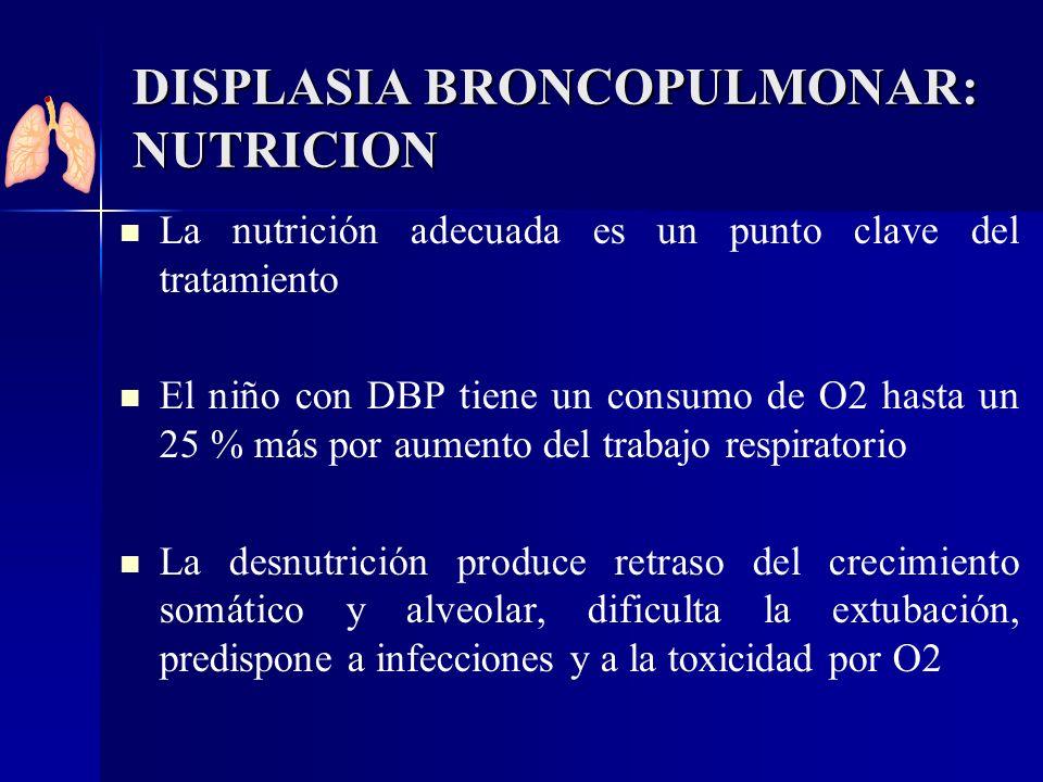 DISPLASIA BRONCOPULMONAR: NUTRICION La nutrición adecuada es un punto clave del tratamiento El niño con DBP tiene un consumo de O2 hasta un 25 % más p