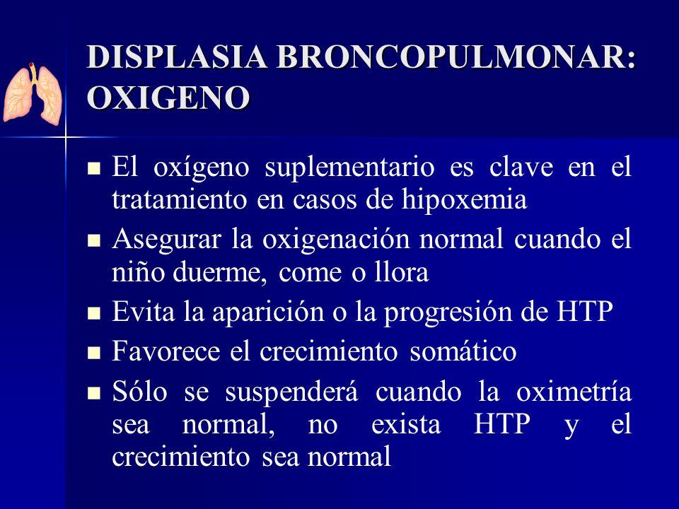 DISPLASIA BRONCOPULMONAR: OXIGENO El oxígeno suplementario es clave en el tratamiento en casos de hipoxemia Asegurar la oxigenación normal cuando el n