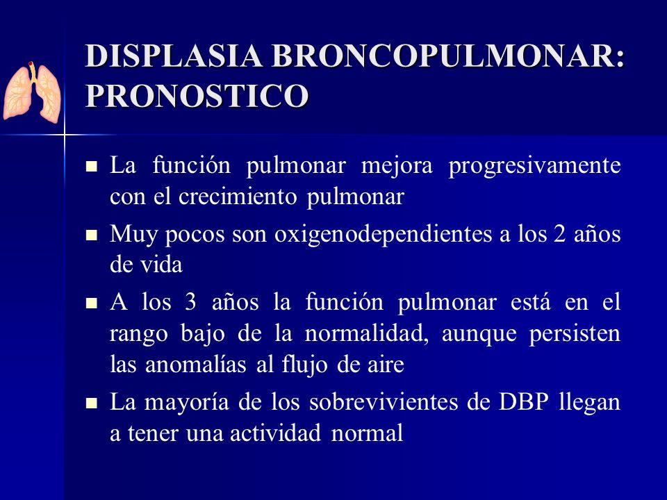 DISPLASIA BRONCOPULMONAR: PRONOSTICO La función pulmonar mejora progresivamente con el crecimiento pulmonar Muy pocos son oxigenodependientes a los 2
