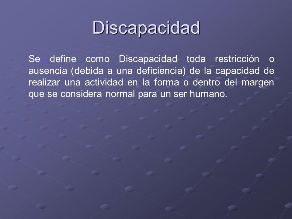 Discapacidad Se define como Discapacidad toda restricción o ausencia (debida a una deficiencia) de la capacidad de realizar una actividad en la forma