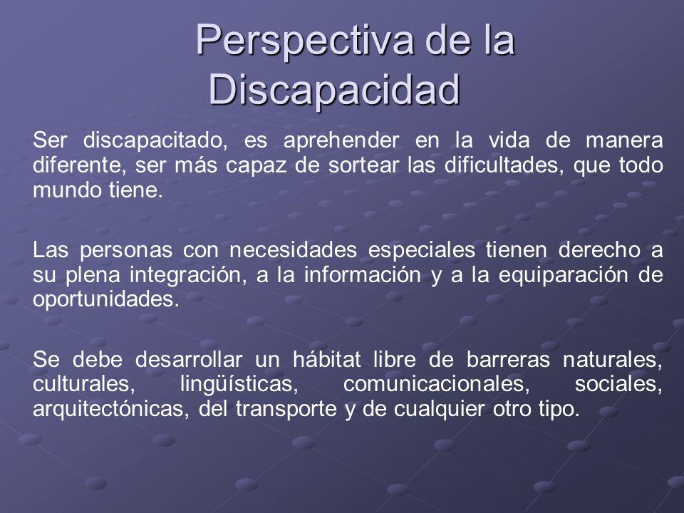 Perspectiva de la Discapacidad Perspectiva de la Discapacidad Ser discapacitado, es aprehender en la vida de manera diferente, ser más capaz de sortea