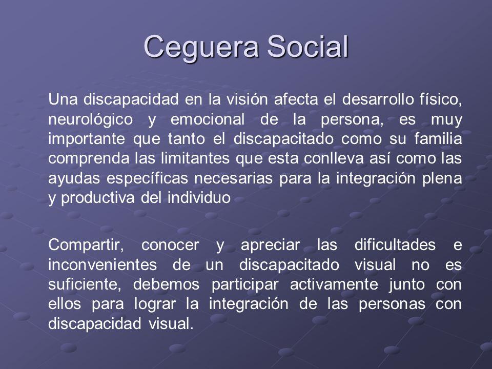Ceguera Social Una discapacidad en la visión afecta el desarrollo físico, neurológico y emocional de la persona, es muy importante que tanto el discap