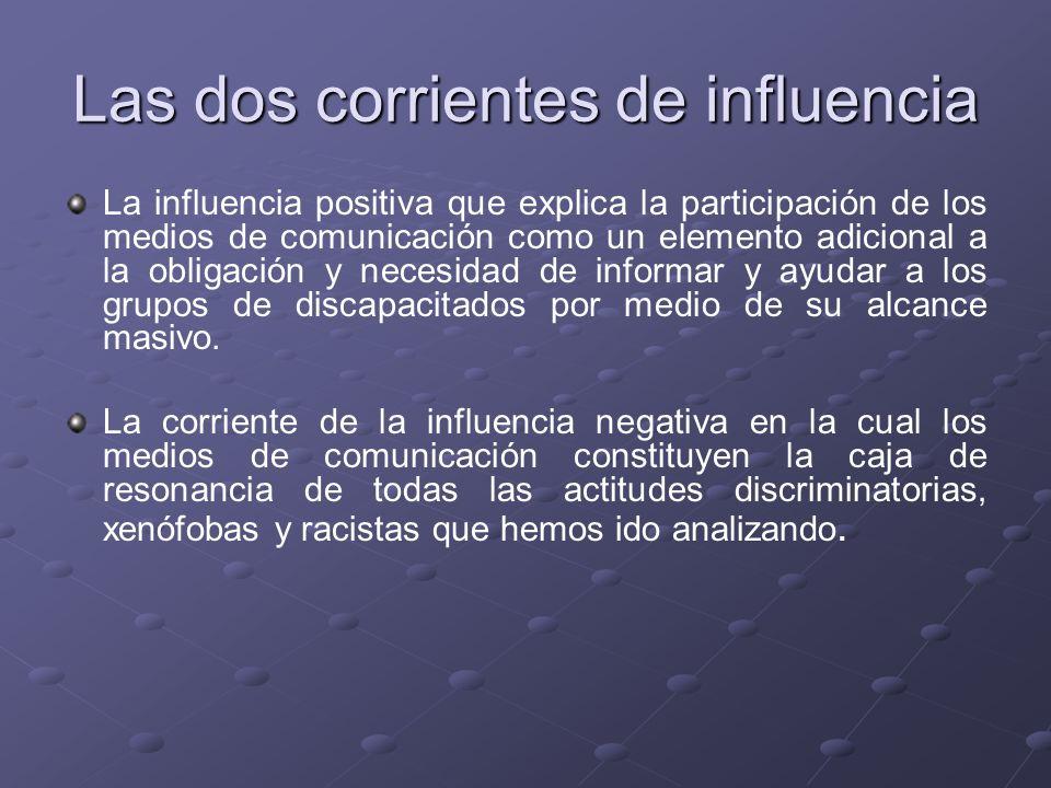 Las dos corrientes de influencia La influencia positiva que explica la participación de los medios de comunicación como un elemento adicional a la obl