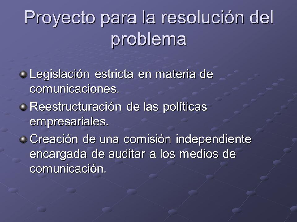 Proyecto para la resolución del problema Legislación estricta en materia de comunicaciones. Reestructuración de las políticas empresariales. Creación