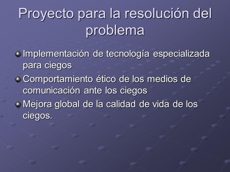 Proyecto para la resolución del problema Implementación de tecnología especializada para ciegos Comportamiento ético de los medios de comunicación ant
