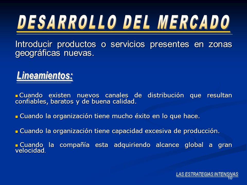 10 Introducir productos o servicios presentes en zonas geográficas nuevas. Cuando existen nuevos canales de distribución que resultan confiables, bara