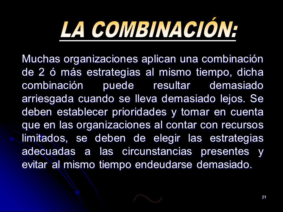 21 Muchas organizaciones aplican una combinación de 2 ó más estrategias al mismo tiempo, dicha combinación puede resultar demasiado arriesgada cuando