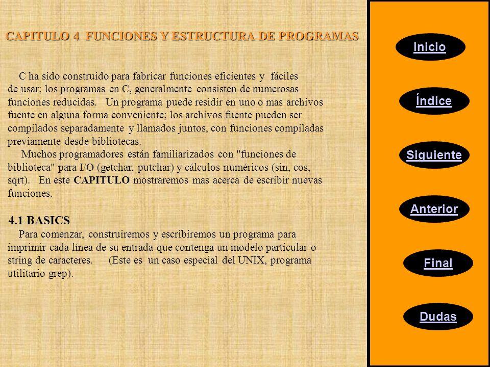 Inicio Índice Siguiente Anterior Final Dudas CAPITULO 4 FUNCIONES Y ESTRUCTURA DE PROGRAMAS C ha sido construido para fabricar funciones eficientes y