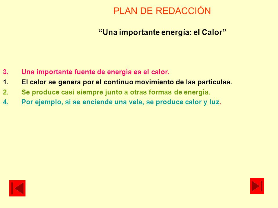 PLAN DE REDACCIÓN Una importante energía: el Calor 3.Una importante fuente de energía es el calor. 1.El calor se genera por el continuo movimiento de