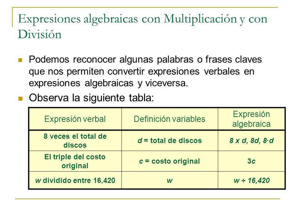 Expresiones algebraicas con Multiplicación y con División Podemos reconocer algunas palabras o frases claves que nos permiten convertir expresiones ve