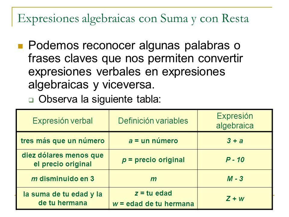 Expresiones algebraicas con Suma y con Resta Podemos reconocer algunas palabras o frases claves que nos permiten convertir expresiones verbales en exp