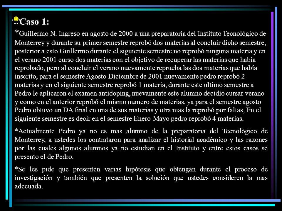 Caso 1: * Guillermo N. Ingreso en agosto de 2000 a una preparatoria del Instituto Tecnológico de Monterrey y durante su primer semestre reprobó dos ma