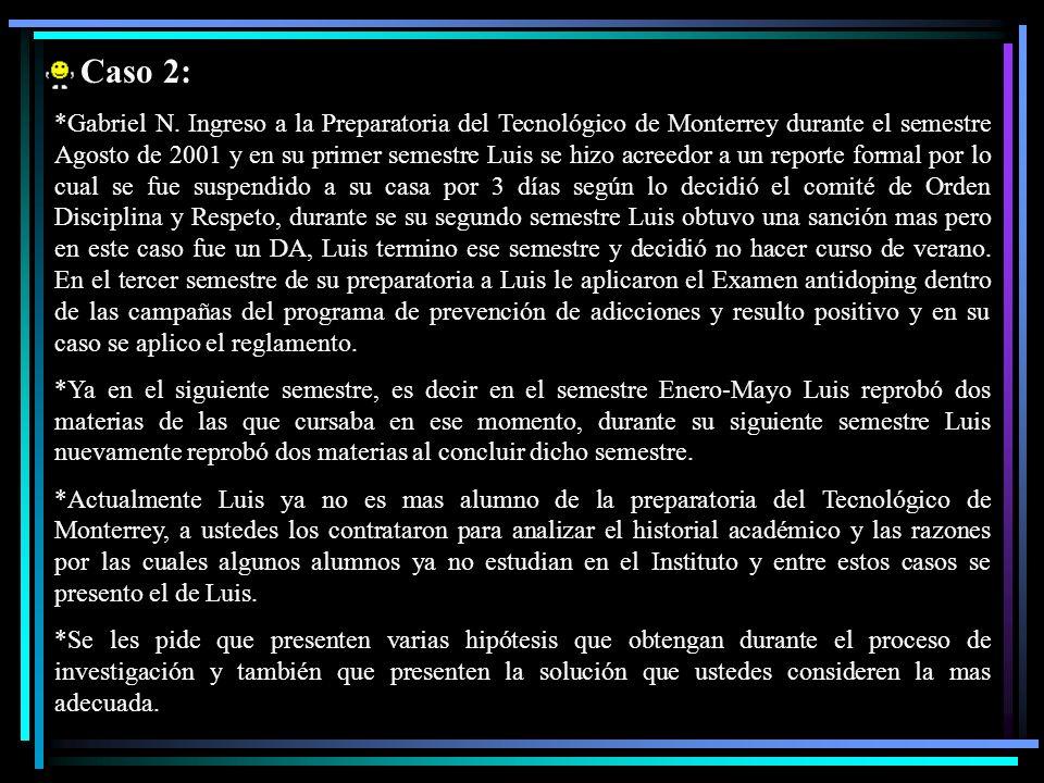 Caso 2: *Gabriel N. Ingreso a la Preparatoria del Tecnológico de Monterrey durante el semestre Agosto de 2001 y en su primer semestre Luis se hizo acr