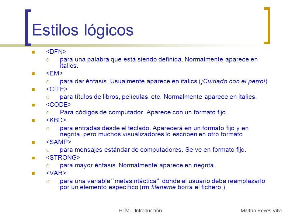 HTML. IntroducciónMartha Reyes Villa Estilos lógicos para una palabra que está siendo definida. Normalmente aparece en italics. para dar énfasis. Usua