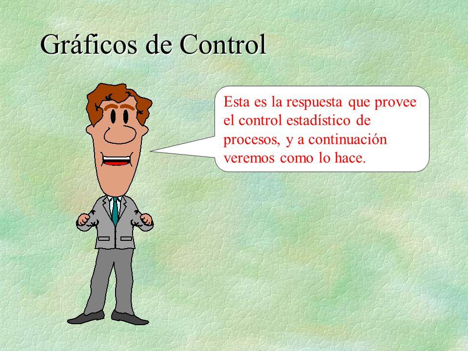 Esta es la respuesta que provee el control estadístico de procesos, y a continuación veremos como lo hace. Gráficos de Control