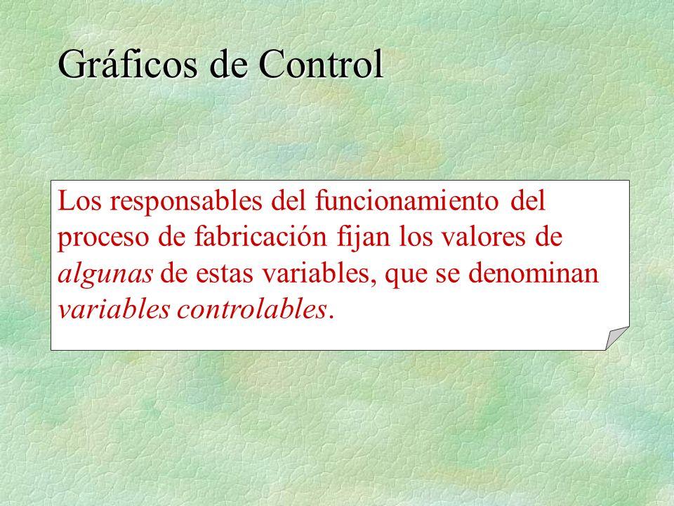 Los responsables del funcionamiento del proceso de fabricación fijan los valores de algunas de estas variables, que se denominan variables controlable