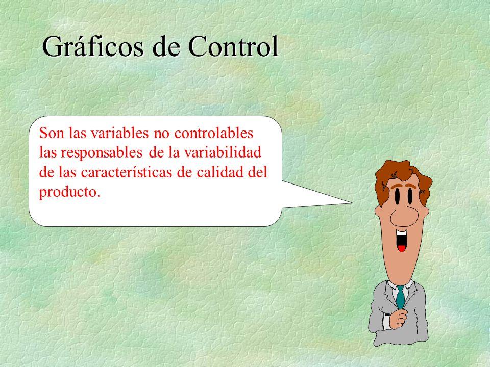 Son las variables no controlables las responsables de la variabilidad de las características de calidad del producto. Gráficos de Control