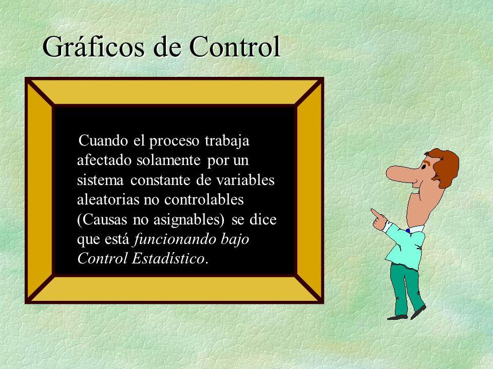 Cuando el proceso trabaja afectado solamente por un sistema constante de variables aleatorias no controlables (Causas no asignables) se dice que está