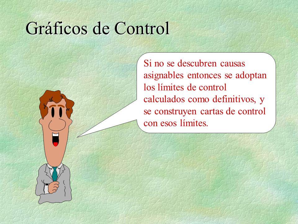 Si no se descubren causas asignables entonces se adoptan los límites de control calculados como definitivos, y se construyen cartas de control con eso