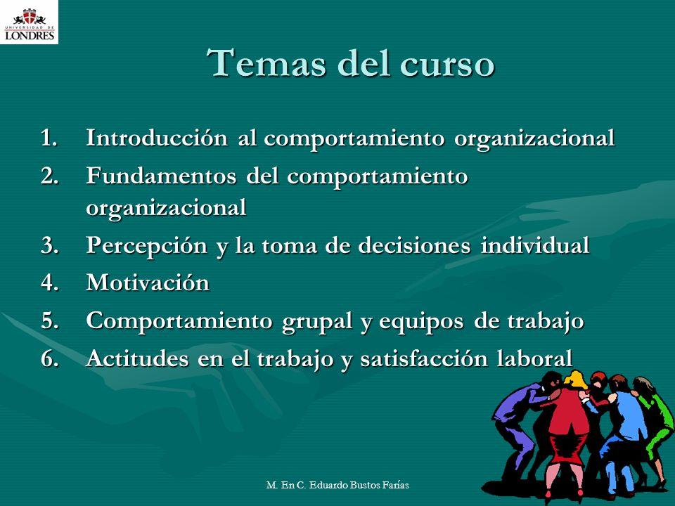 M. En C. Eduardo Bustos Farías10 Temas del curso 1.Introducción al comportamiento organizacional 2.Fundamentos del comportamiento organizacional 3.Per