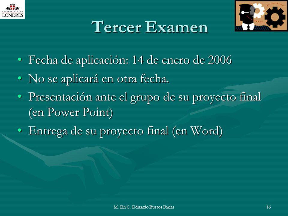 M. En C. Eduardo Bustos Farías16 Tercer Examen Fecha de aplicación: 14 de enero de 2006Fecha de aplicación: 14 de enero de 2006 No se aplicará en otra